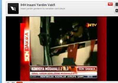 Israeli soldiers attack a Turkish humanitarian boat