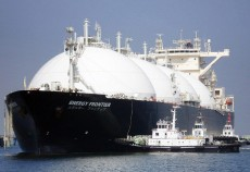 LNG ship prepares a load of Liquified Natiral Gas
