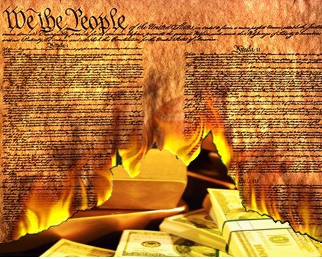 We the People Burning Constitution