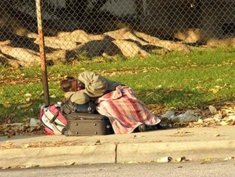 Homeless Female Veteran Outside West LA VA