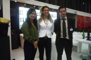 Feng, Hager and Laurent who sell wine from Bordeaux