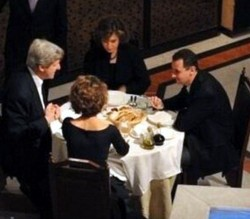 Kerry's and Assad eat dinner at Damascus restaurant in 2009.  Guess Assad did not like the Gefilte Fish Kerry was bringing!