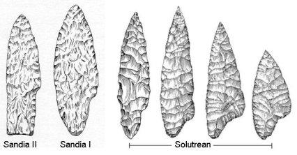 sandia solutrean spear points