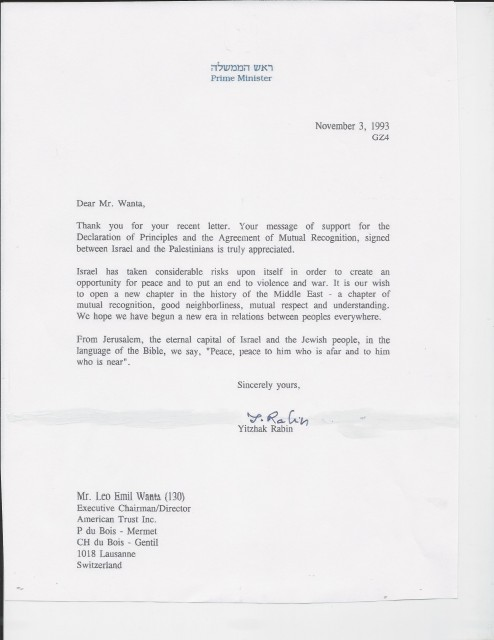 Rabin Letter to Wanta Page 1
