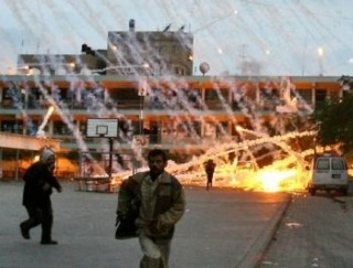 Israelis trying out their new phosphorous weapons on the UN compound