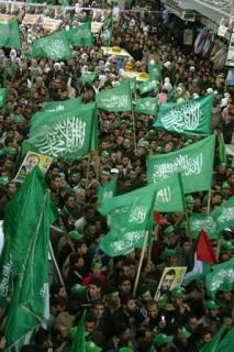 Hamas' flag & banners read Islamic verses - Palestinian Parliamentary elections 2006