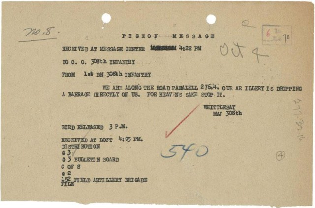 A gem here folks - the actual carrier piegon message from the Lost Battalion