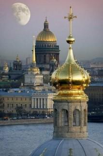 St. Petersburg's seven golden domes at dusk