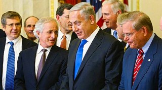 Israeli Prime Minister Benjamin Netanyahu (C) meets with members of the Senate Foreign Relations Committee, including Chairman Robert Menendez (R) and ranking member Senator Bob Corker (2nd L), in Washington