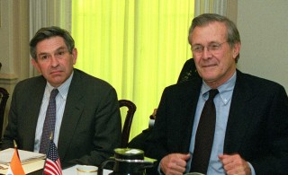 Secretary of Defense Donald Rumsfeld and Deputy Secy. of Defense Paul Wolfowitz