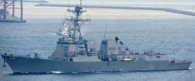 USS Missile destroyer Truxtun goes on the chessboard