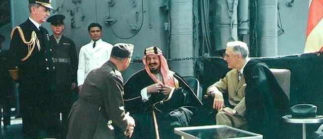February 14, 1945 -- U.S. President Franklin Roosevelt signed an agreement with Saudi Arabia's King Abdul Rahman bin Saud Al Saud aboard the USS Quincy