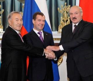 Kazakh President Nursultan Nazarbayev, Russian President Dmitry Medvedev, Belarussian President Alexander Lukashenko