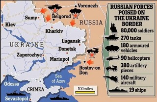 A propaganda hyped NeoCon map which doubled the Russian numbers and used the term border when really in the 'region'.