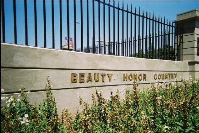 """Veterans Park Conservancy's desecration of """"Duty, Honor, Country"""" on VA property."""