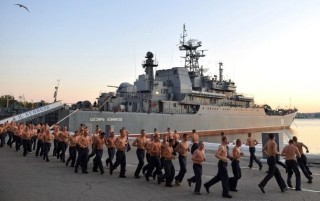 Russian sailors do their morning exercises