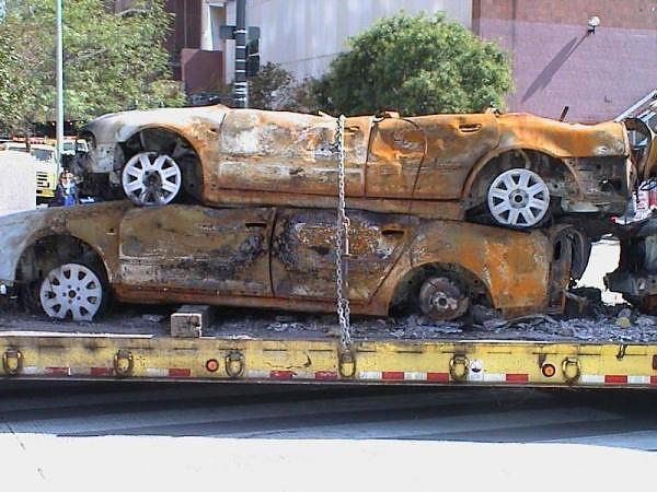 Cars from 9/11 destroyed by Nuclear EMP