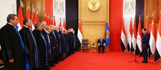 El Sisi is sworn in as Egypt's new President before the honorable judges of Egypt's supreme constitutional court