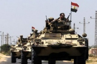 Egyptian military unit patrolling the northern territories of Sinai near the Jihadists' foothold in the peninsula