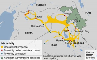 Area of control and activity of ISIL in Syria and Iraq - Updated June 2014
