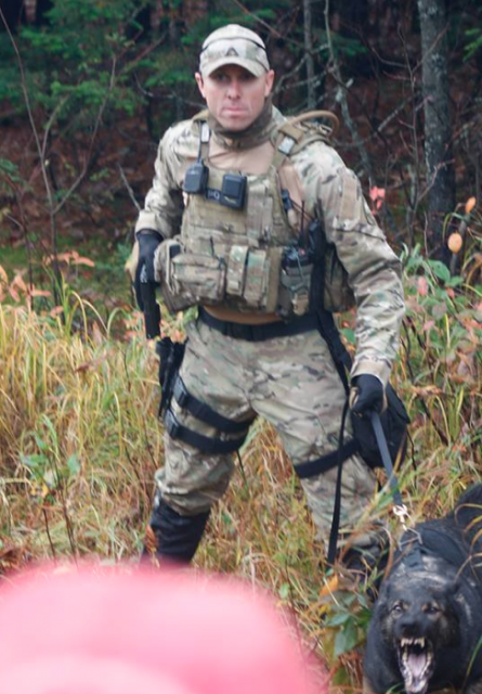 An special ops operative deployed near Moncton New Brunswick in 2013 to defend the fracking operation of an Irving related US Company from the interventions of Mi'Kmaq anti-fracking activists.