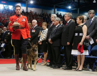 Prime Minister Stephen Harper and Governor-General David Johnston were among those in attendance at the most huge state funeral of killed RCMP members in Canada's history.