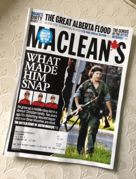 The cover of Macleans Magazine featuring the photograph that has been the primary exhibit used by the mainstream media to pronounce Justin Bourque guilty until proven innocent. When and how did the RCMP obtain this photograph?