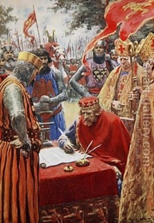 """The 1215 charter required King John to proclaim certain liberties and accept that his will was not arbitrary—for example by explicitly accepting that no """"freeman"""" could be punished except through the law of the land."""