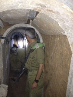 Brig. Gen. Michael Edelstein, Gaza Division commander inside tunnel dug from Gaza Strip to Israel, October 2013