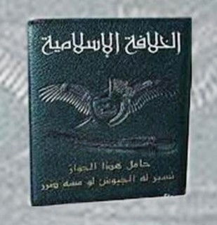 "IS purported new Passport, at the bottom inscribed ""Holder of this passport if harmed armies will be deployed for him"