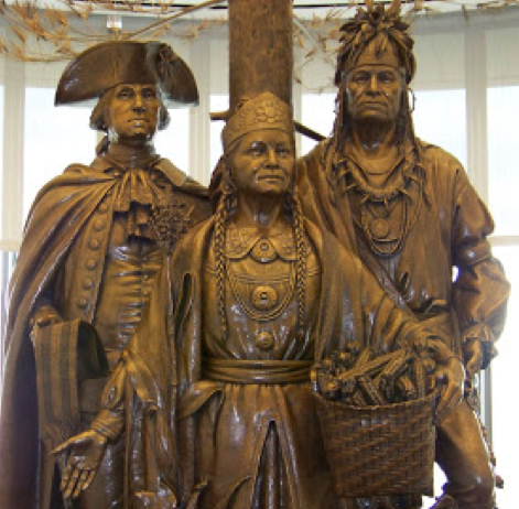 A Statue Depicting George Washington Carrying Treaty Wampum with American Indians