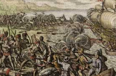 In this view, conquistador Alonso Ojeda and crew, including Amerigo Vespucci, are seen landing on Dominica in 1499. About 500 Carib Indians waged a fierce battle to repel these first Europeans to appear on the island.