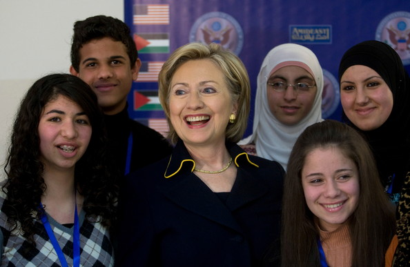 Former US Secretary of State Hilary Clinton Meets with Palestinian Chidren