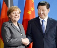 Angela Merkel in China with Chinese President Xi Jinping