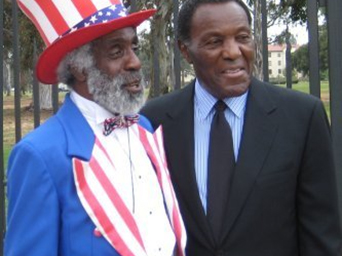"""Gold Medal Camaraderie Ted Hayes, """"Mr. Patriot"""" and Rafer Johnson"""