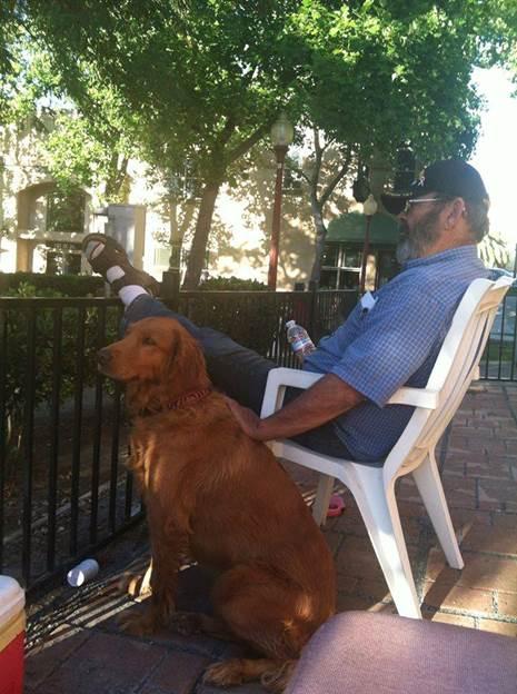 Vietnam combat veteran Tim Barton relaxing with his beloved dog Shasta in Antioch, California