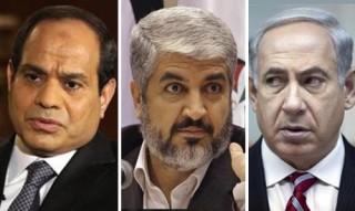 Egyptian President Abdel-Fattah El-Sisi, Hammas leader Khaled Meshal, Israeli Prime Minister Binyamin Netanyahu
