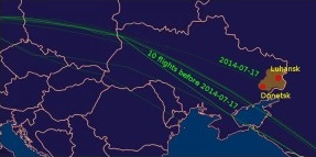 Flight path of MH17