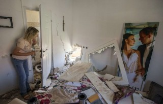 Aftermath of Palestinian rocket on an Israeli home?