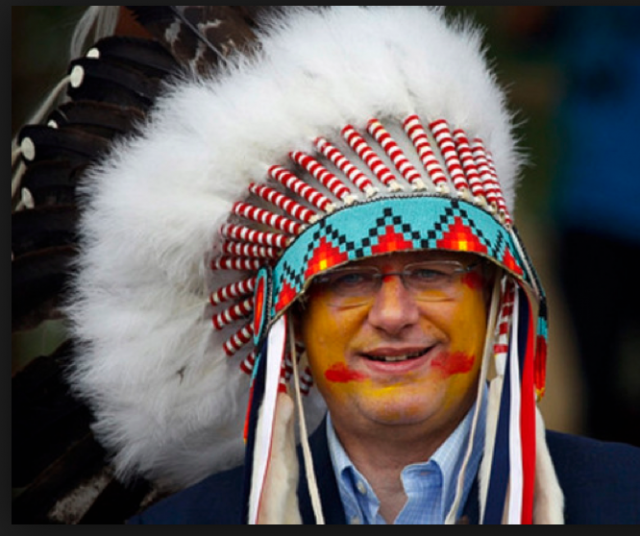 Stephen Harper presenting himself as an Indian Chief