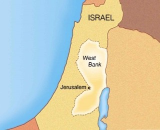 Map of Israel and the West Bank political area of the Jordan River