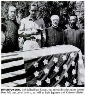 This is Lt. Bill Miller at John Birch's funeral, quite an historic photo