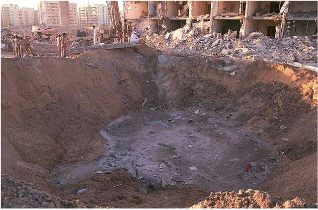 Convential truck bombs cannot make a crater like. Only one type of explosive can. Take a guess.
