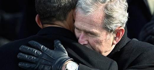 Bush hugging President Obama in gratefulness at 2008 inauguration ( Please protect me,  Barack )