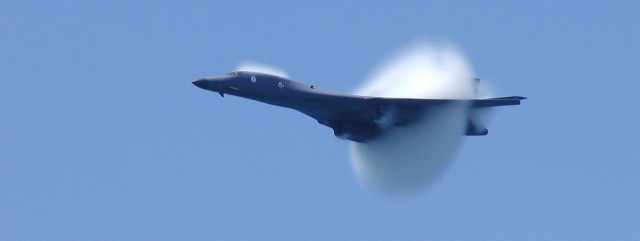 Pensacola Beach AirShow on July 12, 2002. As USAF B1B, 85-0064, from the 127th BS/184th BW, Kansas ANG made its high speed pass approaching the sound barrier, this photo catches the shock wave.