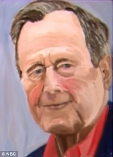 Daddy Bush painted by the former 43rd President of the US