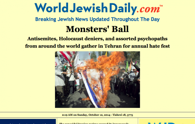 An example of the kind of hysterical and utterly dishonest media coverage of the Tehran conference generated by the Press Releases of the Anti-Defamation League and US Senator Mark Kirk.The photograph of the Israeli flag being burned is taken from another place and another time. It is a fraudulent image in this context.