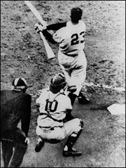 This Oct. 3, 1951, file photo shows Bobby Thomson of the New York Giants hitting a home run, to win the national League pennant against the Brooklyn Dodgers, in the ninth ining of a baseball game at the Polo Grounds in New York. AP Photo/File)