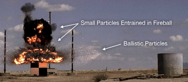 Experiment at the Sandia National Lab showing a test device wherein all or part of the surrogate radioactive material was converted into ballistic fragments approximately 100- to 500-mu in size.