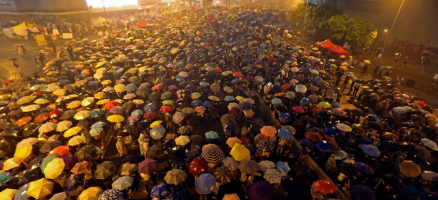 Hong Kong's Umbrella Revolution - the umbrellas came in handy when it rained on the march